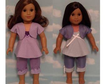 "Capri Set Top Pants Shrug for 18"" dolls, 18 inch Girl Doll Clothing, handmade to fit American Girl Dolls, (choose an option) cs652ab"