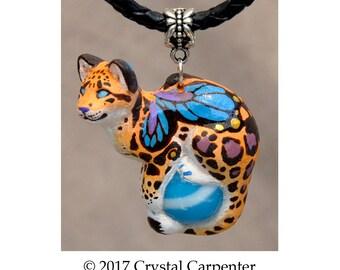 Sky Leopard - Collectible Hand Painted Faerie Sky Cat Necklace Pendant Ornament Sculpture