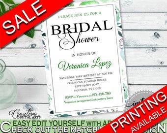 Invitation Bridal Shower Invitation Botanic Watercolor Bridal Shower Invitation Bridal Shower Botanic Watercolor Invitation Green 1LIZN
