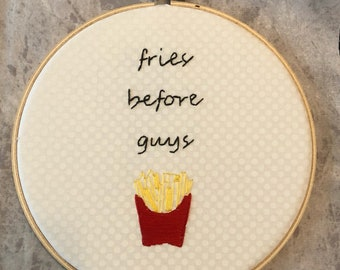 Hand-Embroidered French Fry Hoop
