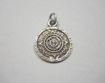 Aztec Calender Mayan Sun Sterling Silver Charm