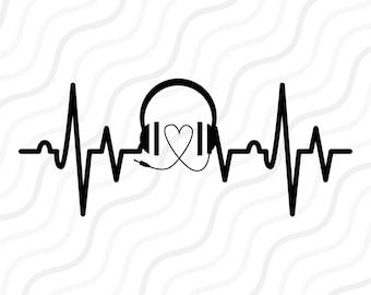 Heartbeat Line Art : Music note heartbeat svg cut table