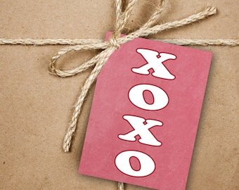 9 XOXO Gift Tags, Valentine's Day 2.5 x 3.5 Hang Tag, Pink and White Product Tag With Jute Twine, Hugs and Kisses Gift Tags