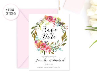 Save the date, printable save the date, floral save the date, pink save the date, wedding invitation