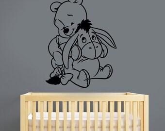 Winnie The Pooh Wall Sticker Eeyore Vinyl Decal Disney Art Decorations for Home Kids Boys Girls Room Nursery Decor wtpo6