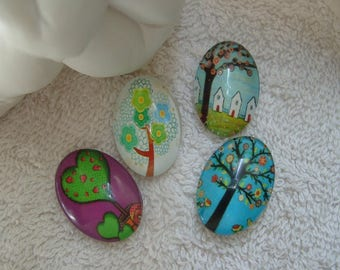 CABOCHONS trees MULTICOLOR set of 4 cabochon 2.5 cm glass oval multicolored trees for support