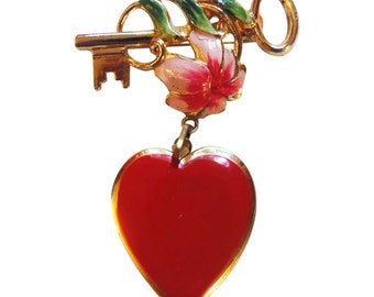 Vintage Enameled  Key To My Heart Locket Brooch/Pin 1950 Heart Pin Sweetheart Pin