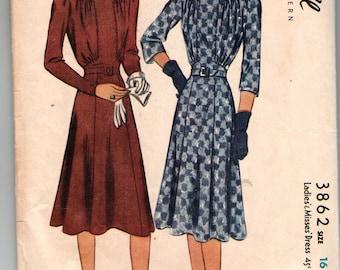 Vintage 1940 McCall 3862  One-Piece Dress