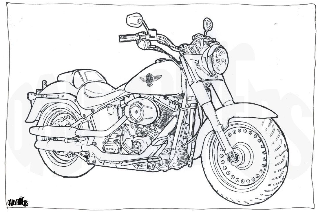 harley davidson fat boy colorazione pagina moto moto da