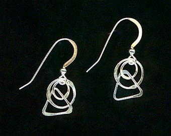 Tiny Sterling Silver Dangle Earrings Chain Link Circles Triangles