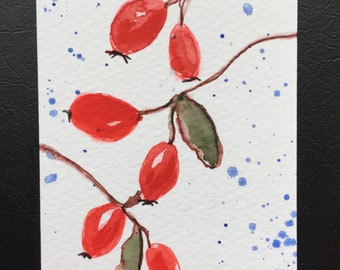 Rosehips ORIGINAL Miniature Watercolour ACEO Watercolor For him For her Gardeners Gift Colourful Floral Home Decor Wall Art Gift Idea