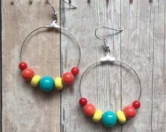 Gorgeous tutti fruiti beaded hoop earrings