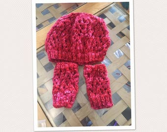 Finger/red/autumn Hat/beret/wristwarmers / in the hot/spring/woman/teen / / birthday/Christmas gift