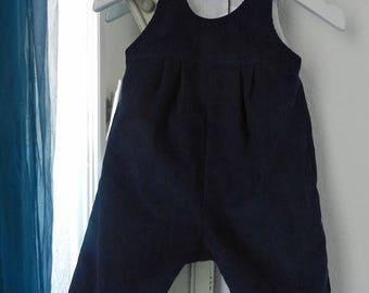 Dark blue velvet cotton overalls