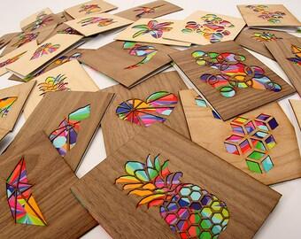 Card Set - Wood Greeting Cards -  Blank Greeting Cards -  5 Greeting Card Set - Unique Greeting Cards -