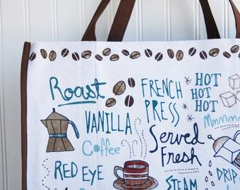 Coffee Lovers Tote Bag - Coffee Bag - Farmers Market - Marketing Bag