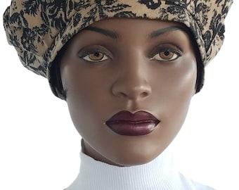 Tan Black French Beret Distressed Textured Print Tam Hat Lined Newsboy Cap Handmade