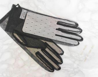 Gothic Vintage Gloves • Black Wedding Gloves • Polka Dot Sheer Mesh Gloves Women • New Old Stock • 50s Style Nylon Gloves. Size 7