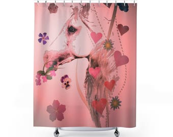 Shower Curtains Pink Satin Hearts