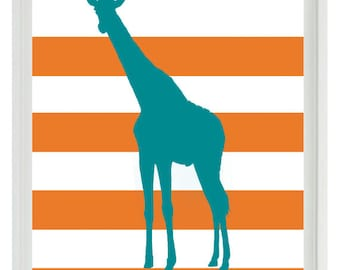 Giraffe Nursery Wall Art Print  - Safari Africa Teal Orange Stripes - Children Room Home Decor