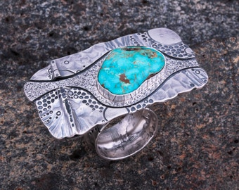 Sterling Silver and Tyrone Turquoise Ring