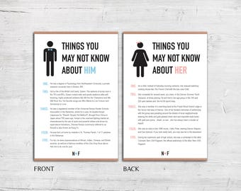 DIY - Reception Table Cards - Fun Facts - Things You May Not Know About Him / Her - Wedding Reception Table - Digital File Only