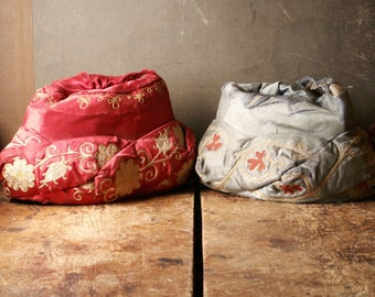 Antique Silk Odd Fellows Hats - Red and Blue Embroidered Asian Turban Style Hats from the Henderson Ames Company