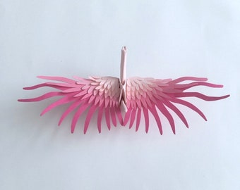 Pink Gradient Origami Paper Crane with Handcut Feather Wings