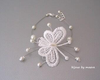 wedding jewelry bracelet and butterfly ivory