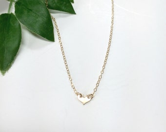 Tiny Heart Necklace / Gold Heart Necklace / Silver Heart Necklace / Bridesmaid Gifts / Gifts for Her / Mother's Day Gift / Love Necklace