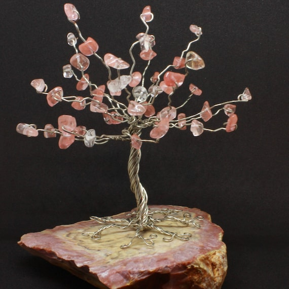 Draht Edelstein-Baum Rosenquarz-Chip-Baum Draht wickeln