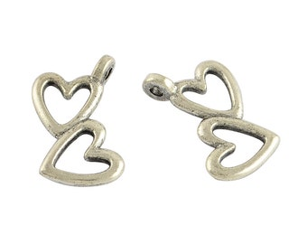 Double Heart  Charm - Set of 10 - Antique Silver - #HK1204