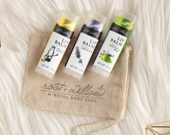 Organic Lip Balm, lip balm set, lip balm trio, Natural Lip Balm, Organic Lip Butter, Pick 3