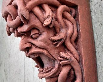 Medusa Corbel Victorian Terra Cotta, gargoyle, Renaissance, grotesque, Cast Shadows Studio, Richard Chalifour, Haunted, gothic, mythology