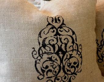 1 Burlap Pillow,BLACK,French Grainsack Pillow, Burlap Pillows, Custom Pillow, Modern Vintage Market