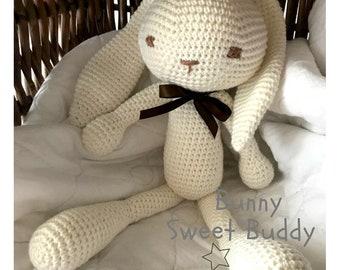 Baby amigurumi Bunny Buddy , amigurumi animale bunny long ears , crochet toy newborn , newborn bunny gift, newborn birth gift , newborn