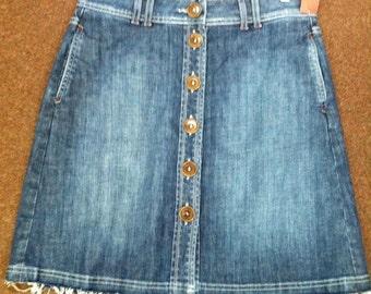 Vintage Boden Women's Denim Blue Jean Skirt Size 10R Fringe Bottom Very Cute