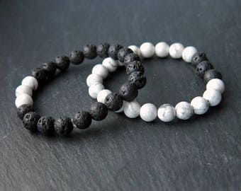 Handmade 8mm Natural Opposites Attract Diffuser Bracelet 3 Lava Rock and Howlite Chakra