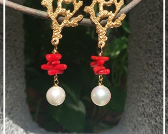 Earrings with Coral inserts