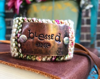 Blessed Christian Bracelet, Word before World Scripture Jewelry, Hand Stamped Green and Pink Cuff Bracelet, Graduation Gift