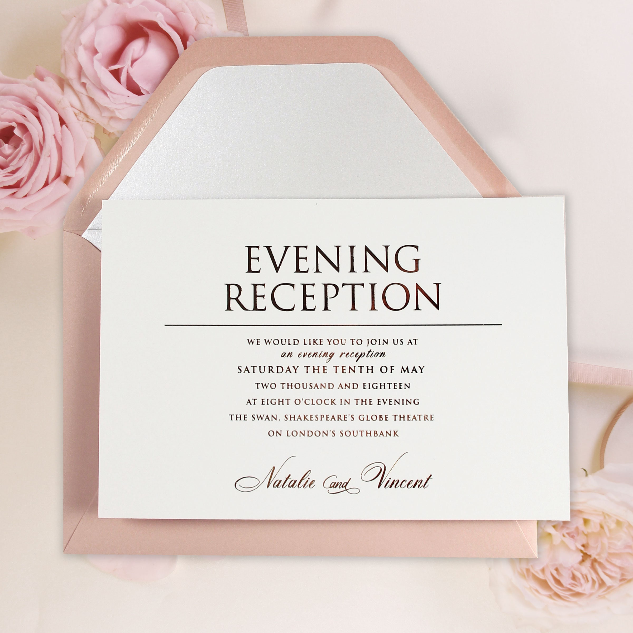 Rose Gold Wedding Evening Invitation Simple Rose Pink with