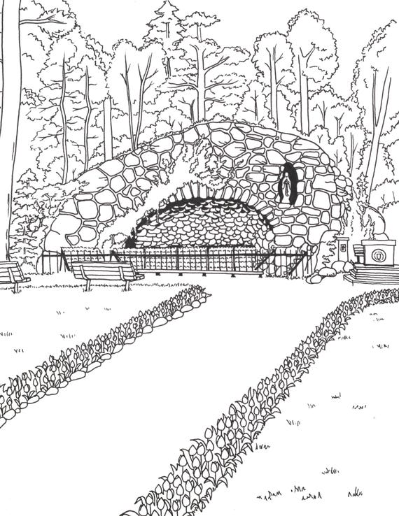 notre dame grotto printable art adult coloring book page
