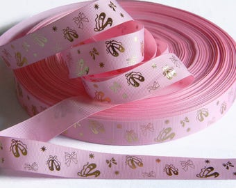 """Ballet Grosgrain 7/8"""" Ribbon 5 yards of Pink w/ Gold Foil Ballet Slippers DIY Hair Bows Costume Dance Recital Bows and Stars Competition"""