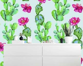 Removable wallpaper/Wallpaper/Peel and Stick wallpaper/Blooming cacti  wallpaper A034A