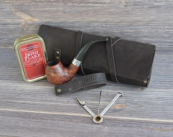 Genuine Leather Pipe Pouch. Tobacco Pouch Case Holder. Pipe Roll. Pipe Bag. Pipe Stand. Pipe holder.