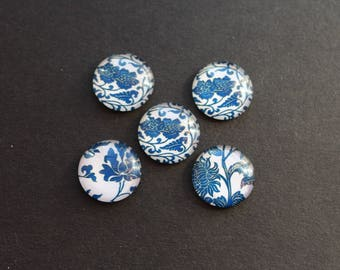 Set of 5 cabochons 20 mm glass retro blue flower