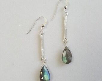 Labradorite Earrings, Labradorite Bar Earrings,  Hammered Bar Drop Earrings, Sterling Silver