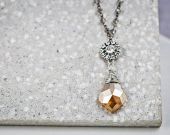 Free Shipping - Amber Glass Chandelier Crystal Necklace. Valentine's gift Pendant Necklace Vintage Inspired Wedding Bridesmaid Necklace.