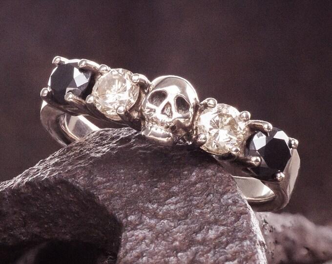 Skull Wedding Ring READY TO SHIP Size 6 White Gold Black and White Diamond White Gold Engagement Ring Goth Wedding Band
