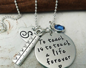 Personalized Teacher Necklace, Hand Stamped Teacher Jewelry, Necklace for Teacher, Thank You Gift, Educator Jewelry, Educator Necklace